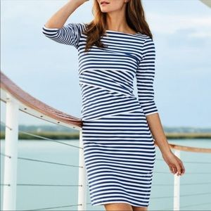 J McLaughlin Nicola tiered dress aqua white stripe